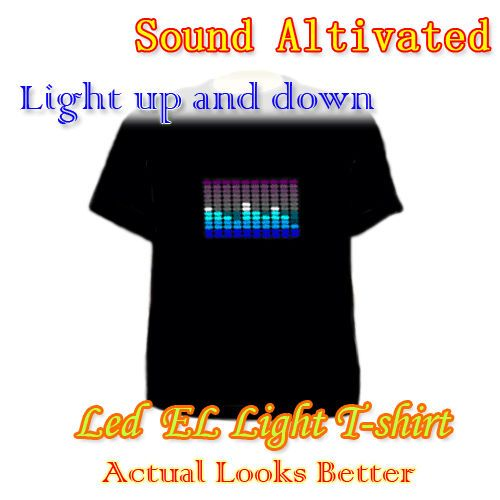 Activated Up and Down LED Light EL T Shirt Cool Fashion Party need